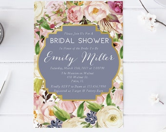 Spring Berries Pink Blush Ivory Bridal Shower Invitation Wedding Party Invitation Hens Party Bachelorette Party Invite Printable Invitation
