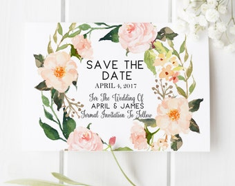 Wedding Save the Date Engagement Save the Date Floral Rose Rustic Wedding Save the Date Calligraphy Wedding Invite