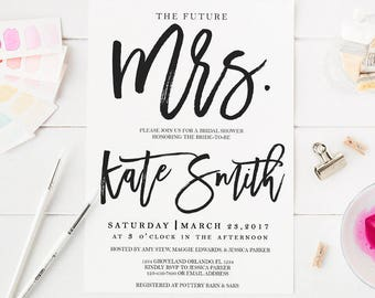 Black and White Bridal Shower Invitation Wedding Party Invitation Hens Party Bachelorette Party Invite The Future Mrs Invitation Printable