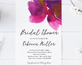 Lila Blumen Brautdusche Einladung Hochzeit Party-Einladung Hennen Partei Bachelorette Party einladen druckbare Einladung moderne Einladung