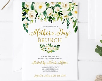 White Floral Greenery Mother's Day Brunch Invitation Printable Rustic Floral Mother's Day Brunch Invite Greenery Bohemian Mother's Day