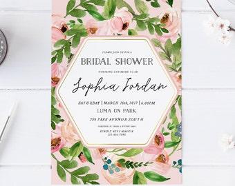 Spring Pink Blush Ivory Bridal Shower Invitation Wedding Party Invitation Hens Party Bachelorette Party Invite Printable Invitation