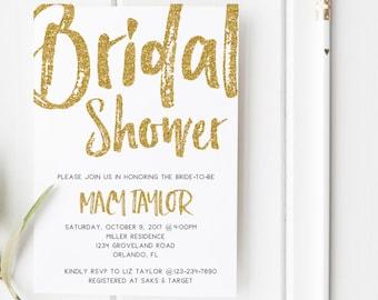 Gold Glitter Modern Bridal Shower Invitation Wedding Party Invitation Hens Party Bachelorette Party Invite Minimalist Bridal Shower