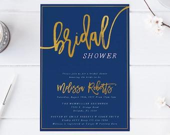 Gold weiß Marine Bridal Dusche Einladung Bachelorette Party Einladung Hennen Nacht Party Marine Einladung moderne Kalligraphie Blau Gold