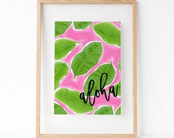 "DRUCKBARE Kunst ""Aloha"" Typografie Poster Strände sind Druck Sommer Wand Kunst Sommer Dekor Sommer Kunst Druck Home Dekor Wohnung Dekor"