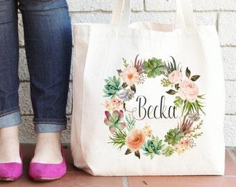 Personalized Tote Bag | Floral Tote Bag | Beige Tote Bag | Bride Tribe | Bridesmaid Tote Bag | Bridesmaids Tote bag Natural Tote Wedding Bag