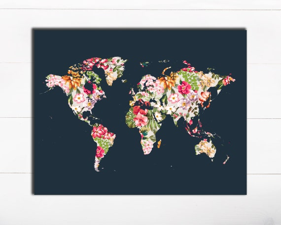Printable art typography art print floral world map art print gumiabroncs Image collections