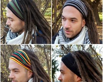 Dreadlock Headband for Men Dreadlock Hair Wrap  Multistrand Tube Mens Headband Dreadlock Accessories Wide Head Wrap Dread Wrap Burning Man