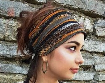Earth Headband Black Brown Head Scarf Head wraps Bohemian Hippie Headband  Dreadlock accessories Dreadlocks Headwear Gypsy Clothing Obi Belt c99b76624c6e