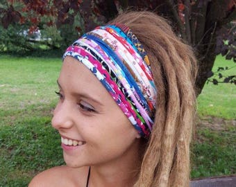 Funky Multicoloured  Headband Multistrand Tribal Headband Dreadband Dreadlock Accessories Dreadlocks Gift Unique For her wide headband
