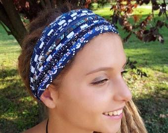 Blue Headband Hair Accessory Dreadlock Headband Scarves Wrap Tribal Coachella Burning Man Headband Festival Headbands Hairbands s