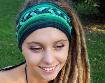 Beautiful Green Headband Head Scarf Yoga Headband Tribal Festival Coacella Headband Unique Gift Dreadlock Head Scarf