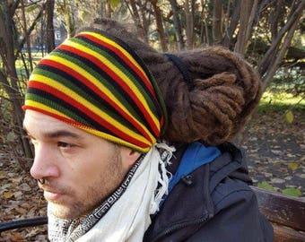 Knitted rasta headband Mens headwrap Jamaica Tube Mens dread band Dread Wrap Hair wrap Dreadlock dreads tube Rasta hat Hippy Rasta stripes