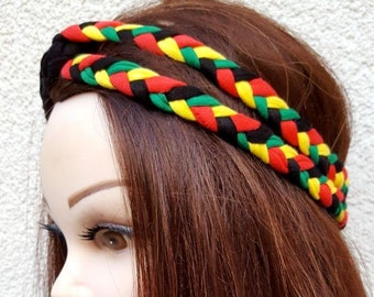 Double Braid Rasta Jamaican Headband Girls Rastafari Hair Accessory Dreadlock Headband Jamaica Flag Headband Twist headband Yoga Hair band