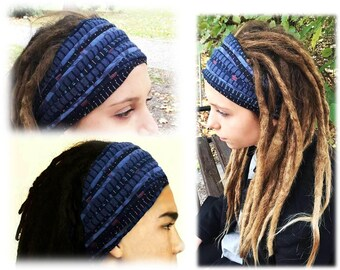 Mens Headband Burning Man Girls Headband Unisex Blue Denim Head Wrap Dreadlocks  Headband for Men Head Scarf Tube Headband Wide Head Wrap b5828250a7b
