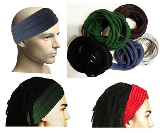 Dreadlocks Headband for Men Dreadlock Hair Wrap Tube Mens Headband  Dreadlock Accessory Wide Head Wrap Red headband for men mens Turban 481a79d4a4c