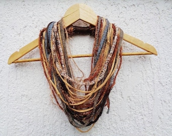 Mustard Brown Autumn Necklace Statement Woodland Infinity Scarf Necklace Boho Hippie Tribal Necklace FUN TO WEAR Necklace