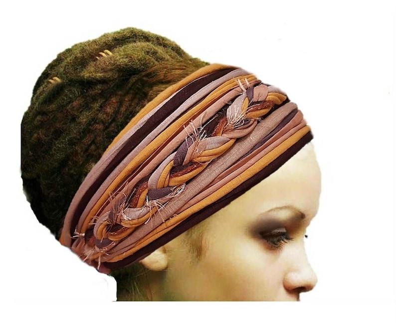 Mustard Brown Autumn Dreadlock Accessories Woodland Headband image 0