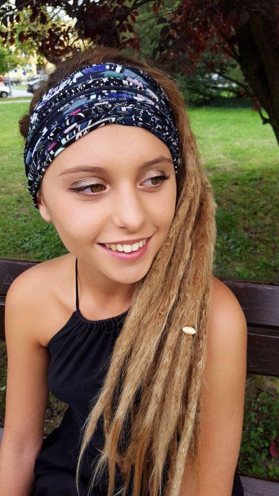 Dark Color Patterned Headband Dreadlock Accessories Head Scarf  2e288fb56ed