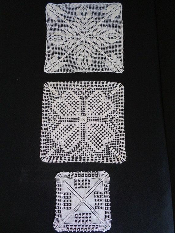 Crochet cuadrado blanco tapete ganchillo hecho a mano tapetes | Etsy