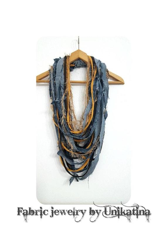 Jean moutarde foulard collier tissu bijoux Textile moutarde     Etsy 6a087a687792