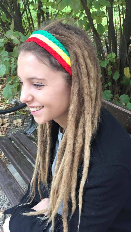 f74d507bcc4859 Unisex geflochtene Rasta Stirnband drei Farben Jamaika grün   Etsy