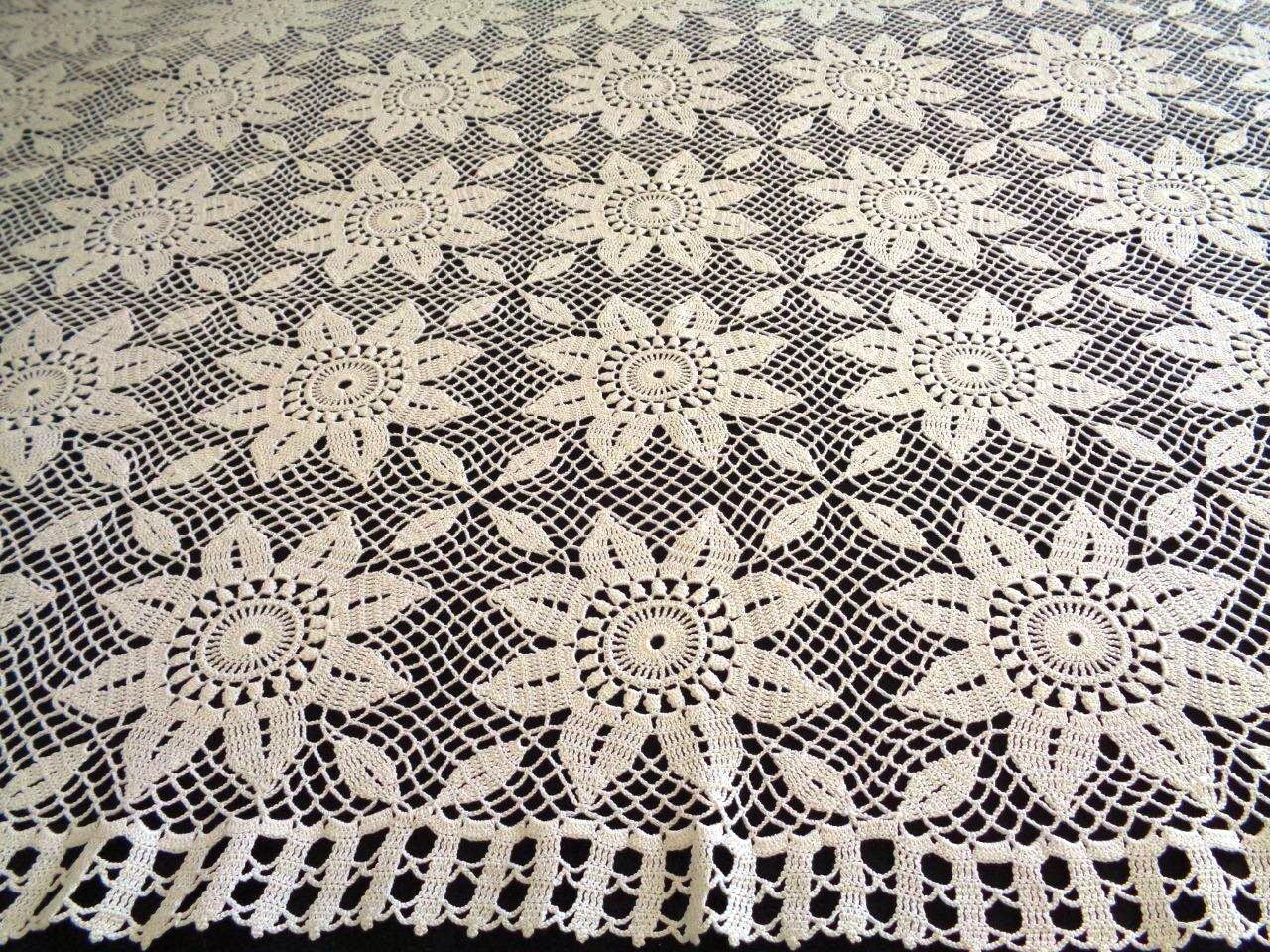 Häkeln Sie große Sonnenblume Rechteckmuster handgemachte Crochet Lace Cover Tischdecken Tischläufer Tischdecke