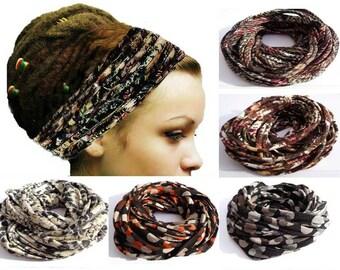Dreadlock Headband Head Wrap Dreadlock Wrap Scarf Necklace Head Scarf Wide Headband Dreadband Boho Hippie Head Wrap Turban