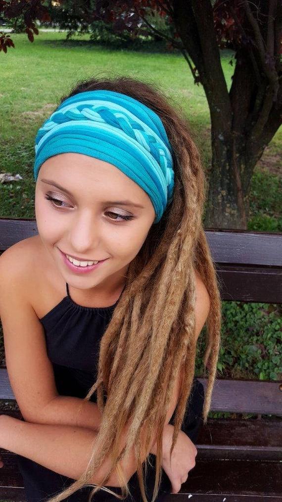 Wide Turquoise Headband Multistrand Tribal Headband Dreadband  d284e3d21c4