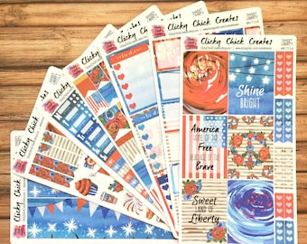 SWEET LIBERTY KIT! Planner stickers, Americana, summer, 4th of July, roses, red, white, blue, flag, Inkwell, eclp, Happy Planner #K1713