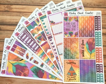 INDIAN SUMMER KIT! Planner stickers, tribal, boho, native, feathers, watercolor, teepee, Inkwell, eclp, Happy Planner {#K1712}