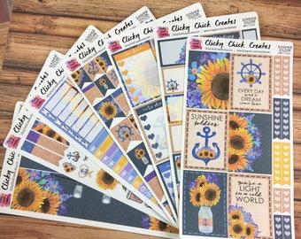 SUNSHINE SOLDIER KIT! Planner stickers, sunflowers, anchors, ship wheel, navy, burlap, mason jars, Inkwell, eclp, Happy Planner {#K1716}