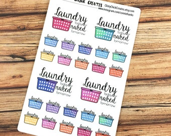 LAUNDRY Planner Stickers! Watercolor laundry baskets! Laundry today or naked tomorrow! {160831}
