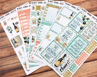 CHEERS KIT! Planner stickers, mint, gold, champagne, macarons, wedding, engagement, birthday, Inkwell, Erin Condren, Happy Planner! {#K1701}