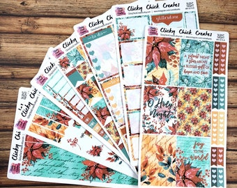 SILENT NIGHT KIT! Planner stickers, Christmas, poinsettia, watercolor, Jesus, faith, religious, Inkwell, eclp, Happy Planner {#K1819}