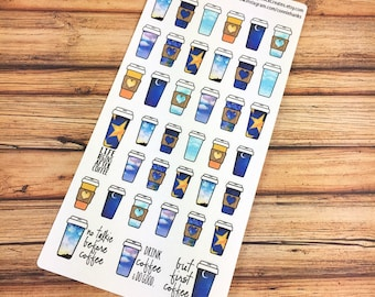 COFFEE! Life begins after coffee! But first coffee! PLANNER STICKERS! Faithful Sky Perfect for coffee dates or a bit more color! {#170220}