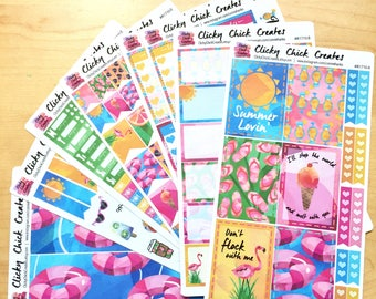 SUMMER LOVIN KIT! Planner stickers, pool, flamingo, cocktails, ice cream, watercolor, flip flops, Inkwell, eclp, Happy Planner {#K1710}