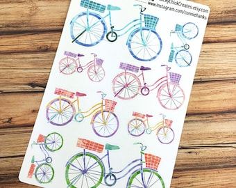 BICYCLES PLANNER STICKERS, Bikes, Summer Chic, Watercolor! {#160621}