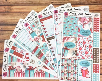 RETRO CHRISTMAS KIT! Planner stickers, presents, snowman, ornaments, watercolor, coffee, gifts, Inkwell, eclp, Happy Planner {#K1717}