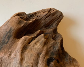 Heavy pointed root stump of bogwood driftwood natural sculpture