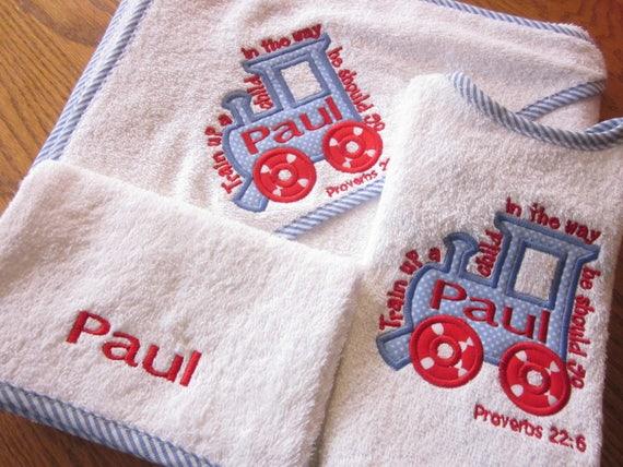 3PC PERSONALISED BABY HOODED TOWEL SET