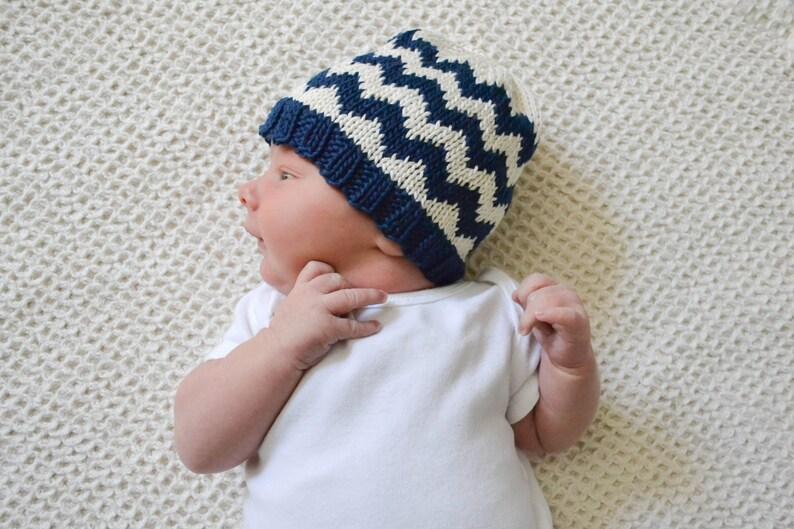 09a3d6c48db Chevron Knit Baby Hat Pattern