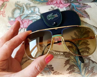 24cc135f2022 Fabulous French Authentic Vintage LACOSTE 101 Designer Aviator Sunglasses Sunshades-Model  L677D Gold Frames.Made in France