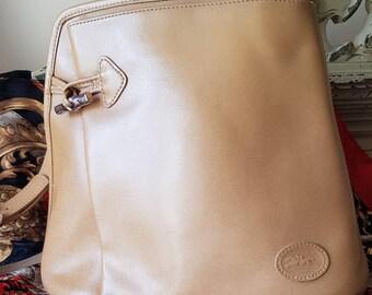 Gorgeous Vintage French LONGCHAMP of Paris Caramel Leather ROSEAU Bamboo  Toggle Shoulder Bag,Registration Number,Silver Hardware-Superb! 74452a22b1