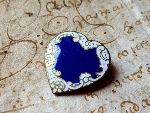 Exquisite Petit Antique French Blue & White Enamel