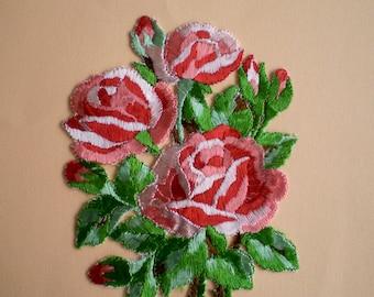 Large Flower Application / Vintage Rose Bouquet / Antique Large Flower Patches