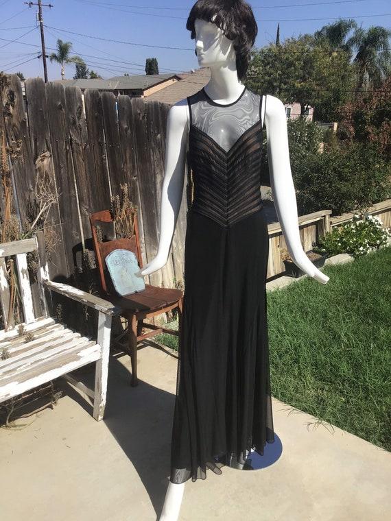 TADASHI. Vintage Mesh Black/Beige Gown - Nineties