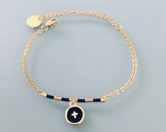 Cross bracelet, women's Bangle Bracelet cross gold plated 24 k, gold bracelet, gift idea, gold bracelet, gift jewellery, gold woman jewel