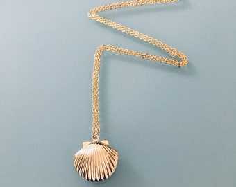 Gold-plated seashell necklace 24k, gold necklace, gift idea, shell jewel, women's gift idea, gold jewelry, gold necklace, gift jewelry
