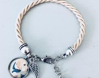 Black photo bracelet with angel wing pendant, personalized jewelry, personalized bracelet, angel wing jewel, custom